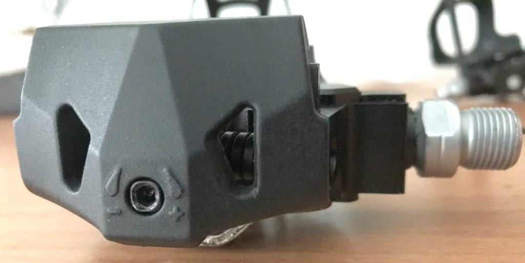 tension adjustment bolt back of 'SPD' type of pedal
