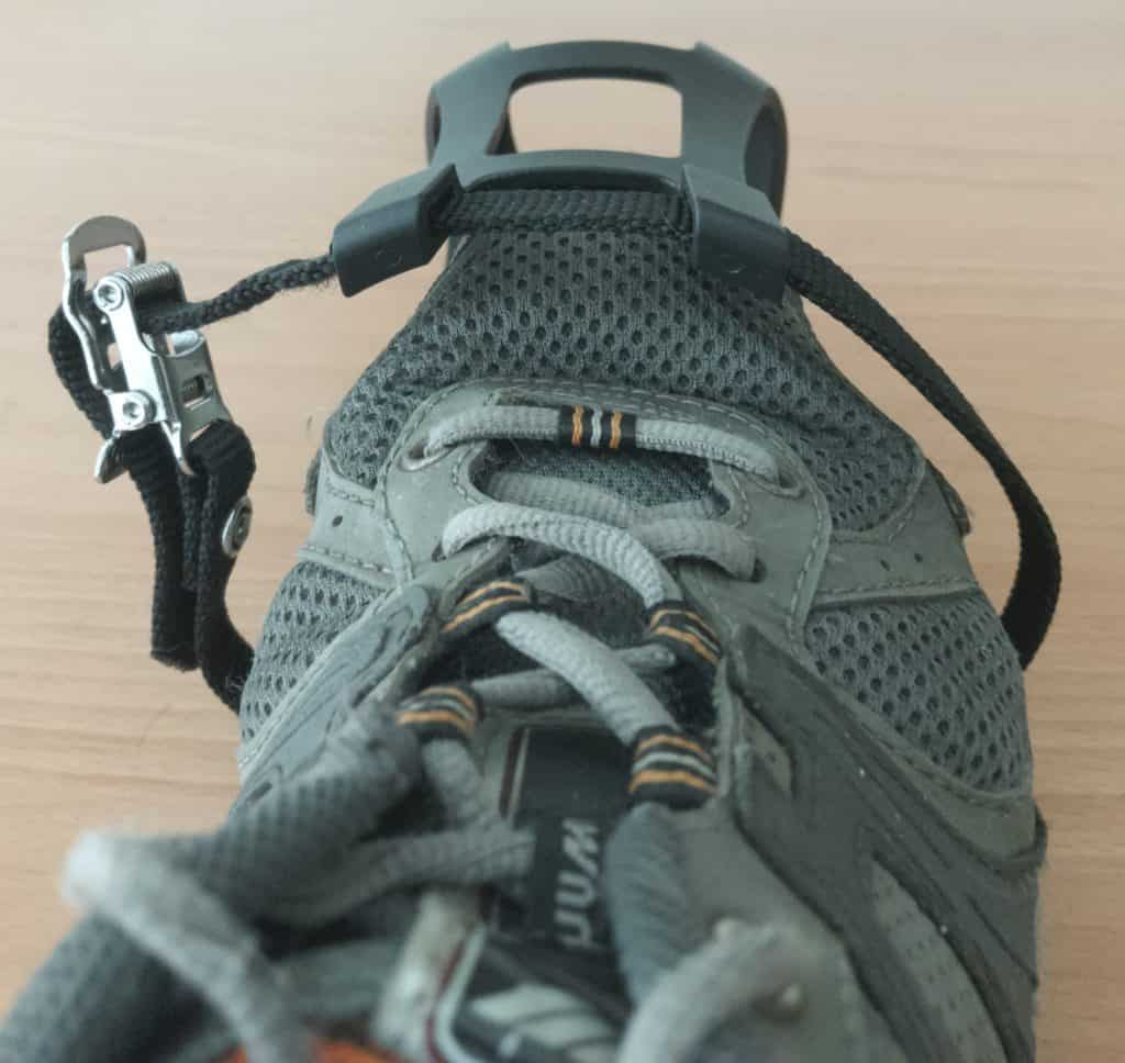 Shoe Fitted into Toe Cage