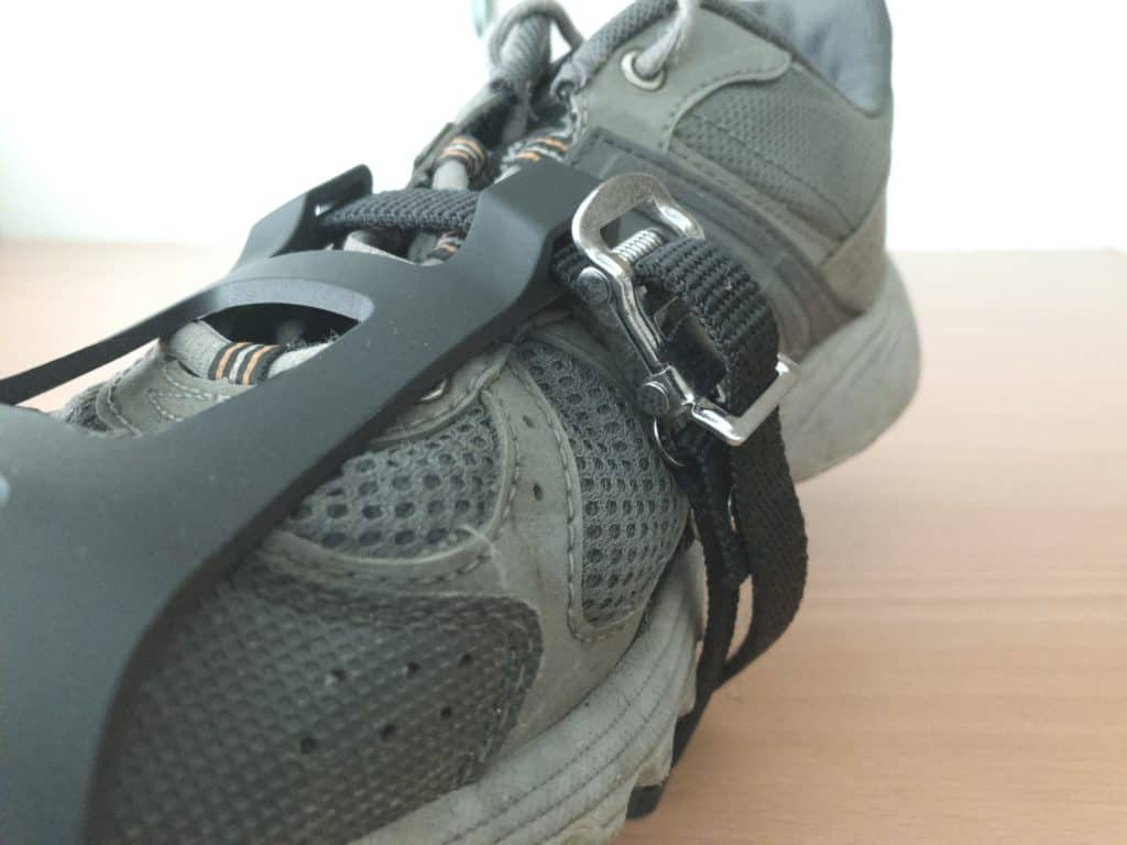 Spin Bike Pedal Shoe Firmly Secured in Toe Clip